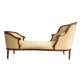 French Hand Carved Walnut Louis XVI Style Duchesse Chaise Lounge For Sale