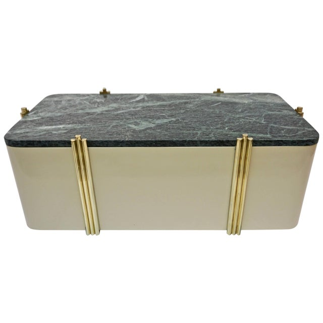 Metal 1970s Art Deco Green Marble and Cream White Lacquered Coffee Table or Bench For Sale - Image 7 of 7