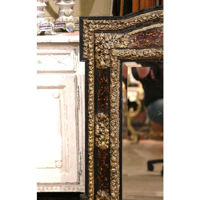 French 19th Century French Napoleon III Repousse Brass and Ebony Overlay Wall Mirror For Sale - Image 3 of 11
