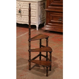 20th Century French Louis XIII Carved Walnut Library Spiral Step Ladder Preview