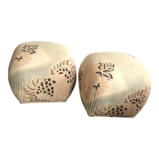Silk Poof Ottomans - A Pair