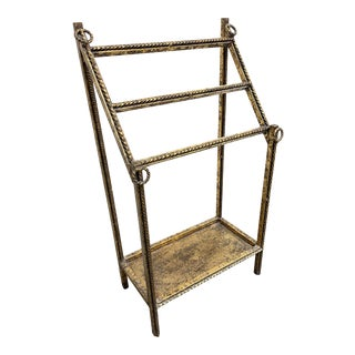 Gold Leaf Hollywood Regency Iron Towel Rack For Sale
