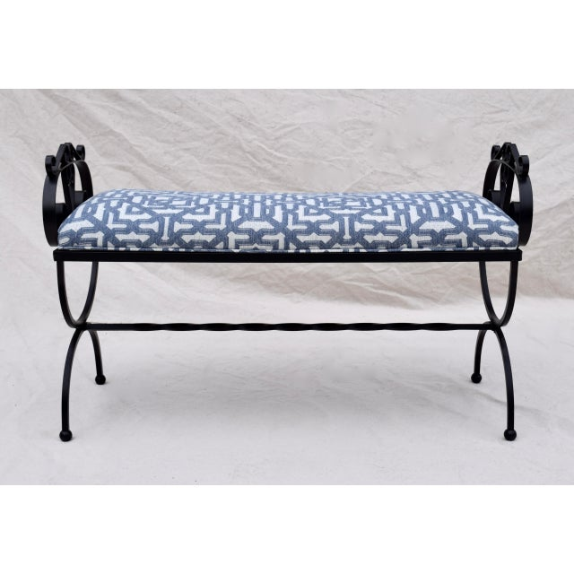 Wrought Iron Curule Base Bench For Sale - Image 9 of 9