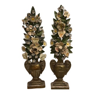 19th Century Tole Floral Arrangements - A Pair