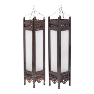 Pair of Tall Chinese Book Lanterns For Sale