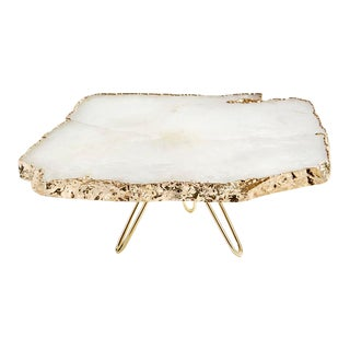 Torta Cake Stand, Crystal & 24k Gold For Sale