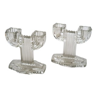 Deco Glass Candle Holders - a Pair For Sale