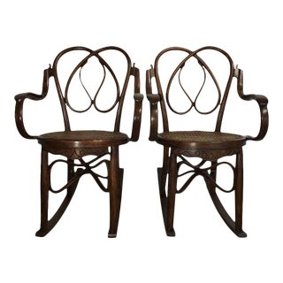 19th Century Bentwood Rocking Chairs in Style of Jacob & Josef - A Pair For Sale