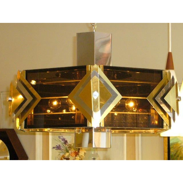 1970s Amazing Modernist Cityscape Style Mixed Metal & Lucite Chandelier For Sale - Image 5 of 10