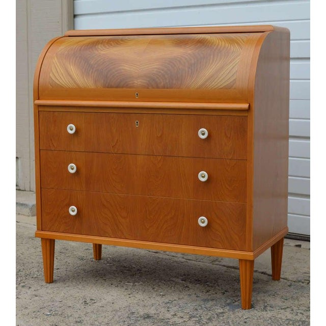 Swedish Art Moderne Elm Roll-Top Secretary Writing Desk For Sale In Atlanta - Image 6 of 11