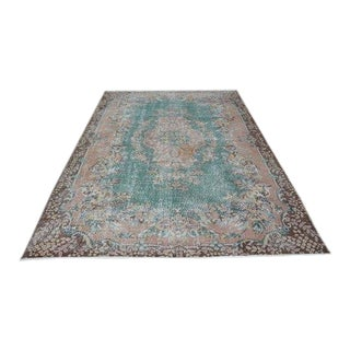 1960s Vintage Turkish Oushak Rug - 6′4″ × 9′6″ For Sale