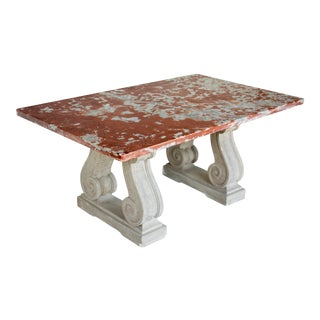 Vintage Mid Century French Marble-Top Center Table For Sale