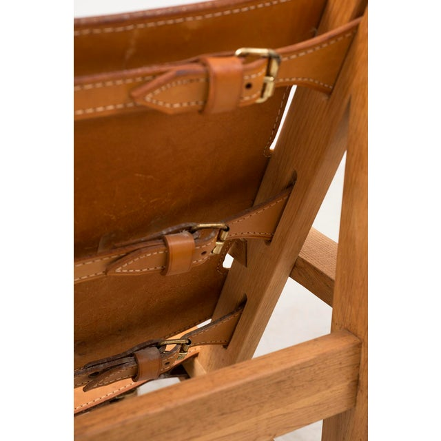 Pair of Kurt Ostervig Hunting Chairs in Oak and Leather, Denmark 1960s For Sale - Image 10 of 11