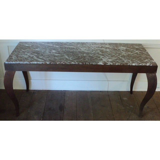 Custom Designed Metal & Marble Console Hall Table - Image 2 of 11