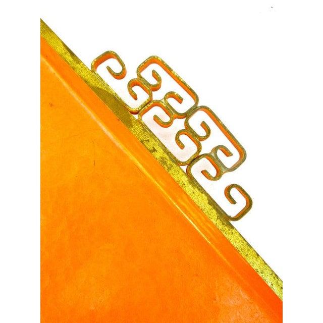 Mid-Century Orange Enamel Moiré Glaze Kyes Tray - Image 4 of 5