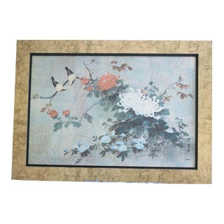 1970s Vintage Chinese Bird Framed Oil Painting For Sale