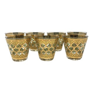 1960s Culver Valencia Gold and Green Old Fashioned Glasses - Set of 7 For Sale