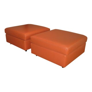 Charles Pfister for Knoll Leather Ottomans - a Pair