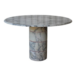 Vintage 1970s Post-Modern Italian Arabescato Marble Dining Table For Sale