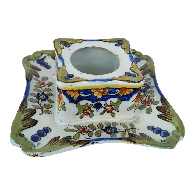 19th C French Faience Inkwell For Sale