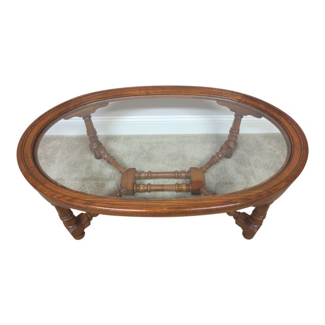 Pennsylvania House Oak & Glass Coffee Table - Image 1 of 7