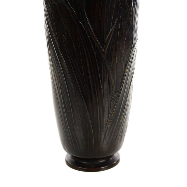 Japanese Beautiful 19th Century Meiji Bronze Vase -Signed For Sale - Image 4 of 8