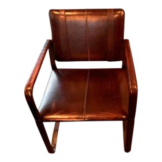 Restoration Hardware Leather Buckle Chair For Sale
