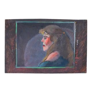 """Signed Bohemian Landscape Portrait Painting of a Hippie Woman 11"""" X 12.5"""" For Sale"""