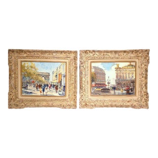 Early 20th Century Parisian Framed Paintings on Canvas - a Pair For Sale