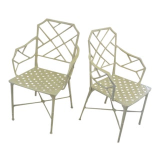 Brown Jordan Calcutta Faux Bamboo Chairs - a Pair For Sale