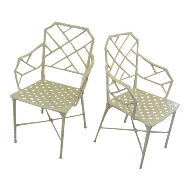 Brown Jordan Calcutta Faux Bamboo Chairs - a Pair For Sale