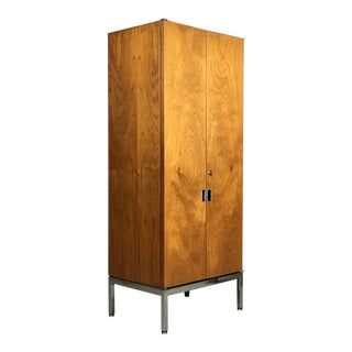 Knoll Armoire Cabinet in Teak and Chrome Custom Order Knoll Chest Bookshelf For Sale
