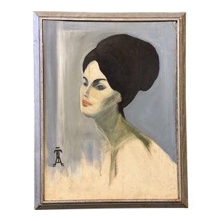 Mid-Century Portrait Oil on Board Painting Signed Uta Von Bern For Sale