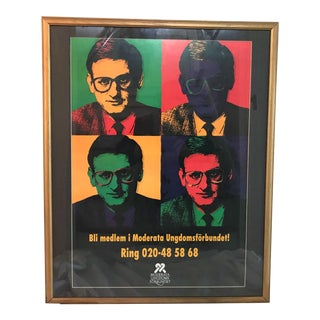 1990s Swedish Pop Art Campaign Poster in the Style of Andy Warhol For Sale