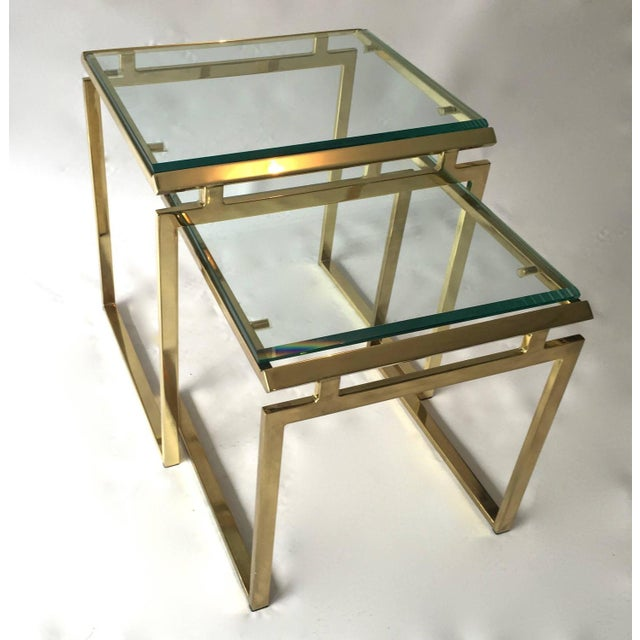 Mid-Century Brass & Glass Nesting Tables - A Pair - Image 2 of 10