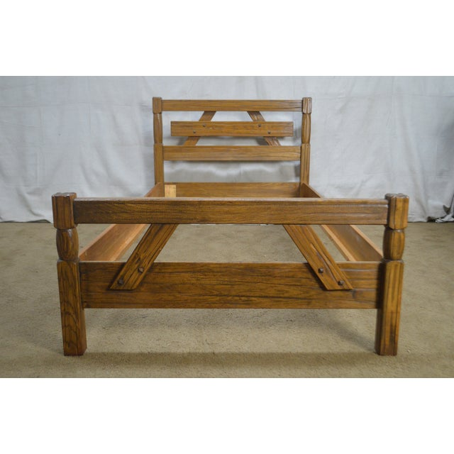 Oak Brandt Ranch Oak Rustic Pair of Sawbuck Twin Beds - a Pair For Sale - Image 7 of 13
