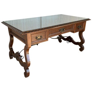 20th Spanish Desk or Library Carved Oak Table With Three Drawers & Stretcher For Sale