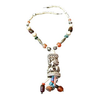 Tribal Carved Handmade Artisan Glass Beaded Necklace For Sale