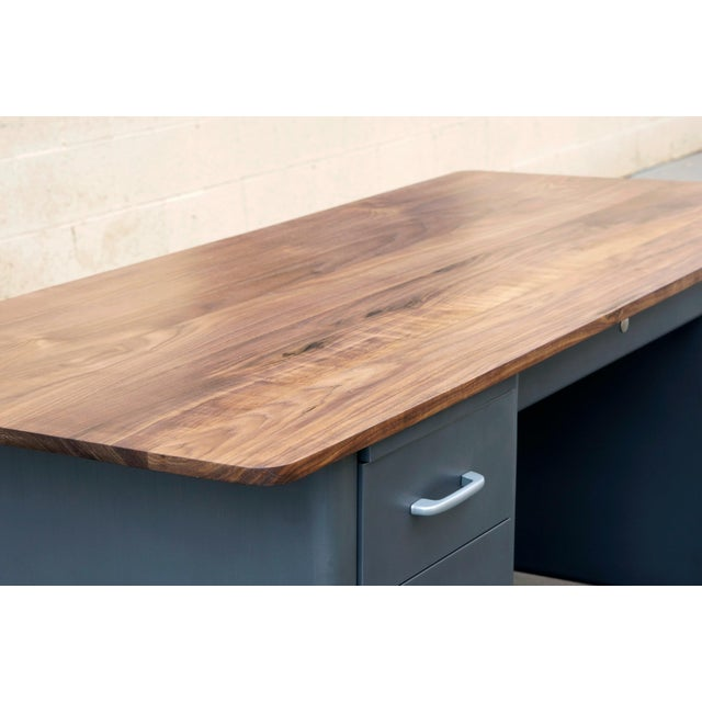 1960s Mid Century Tanker Desk With Custom Walnut Top For Sale - Image 5 of 7