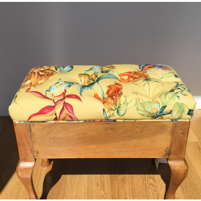Antique Biedermeier Footstool With Yellow Floral Seat - Image 3 of 6
