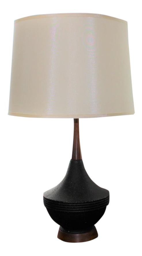 Mid Century Modern Black Ceramic Table Lamp