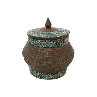 Inlaid Stone Bronze Jar For Sale