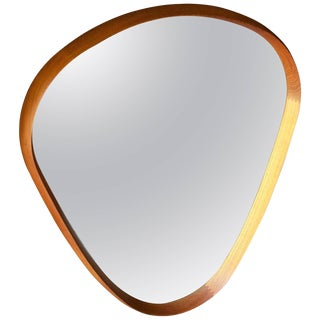Danish Teak Teardrop Wall Mirror Vintage Mid-Century Modern Pedersen Wegner For Sale