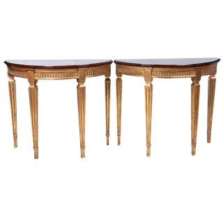 Pair of Cherrywood and Gold Demilune Tables For Sale