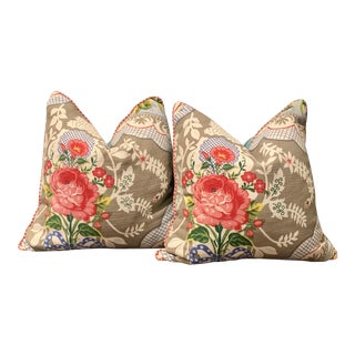 Cottage European Pip Store Floral Down Pillows - a Pair For Sale
