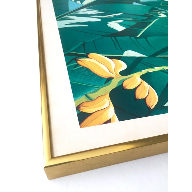 """Vintage 1980 """" Gary Shaw Key West """" Tropical Botanical Lithograph Print Framed Exhibition Poster For Sale - Image 9 of 13"""
