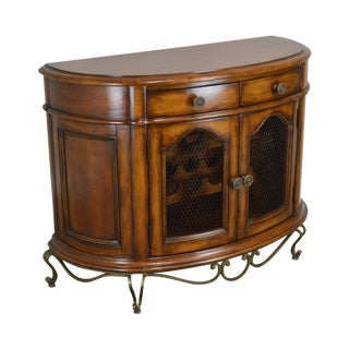 Tuscan Style Demilune Wine Cabinet With Wrought Iron Base For Sale