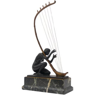 Art Nouveau Transition Bronze Sculpture by Hans Muller For Sale