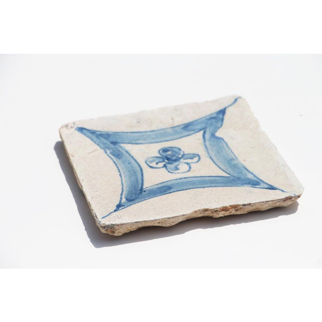 Baroque 18th Century Baroque Flower Portuguese Earthenware Tile For Sale - Image 3 of 9