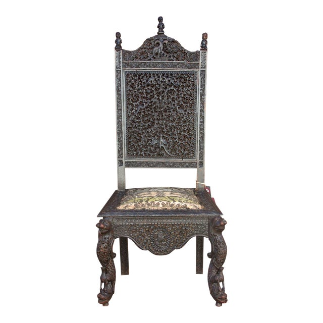 Anglo-Indian Intricate Carved Chair For Sale